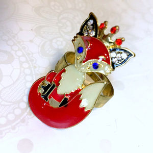 Red Fox Adjustable Finger Ring 7 - 10
